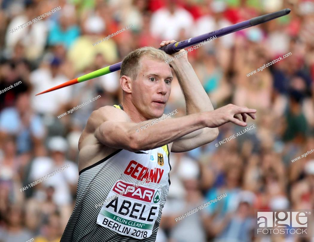 Stock Photo: 08 August 2018, Germany, Berlin: Athletics, European Championships in the Olympic Stadium: Decathlon, javelin, men, Arthur Abele from Germany in action.