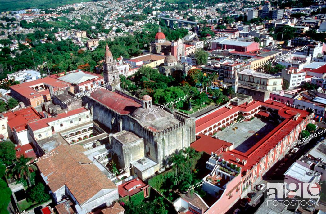 Stock Photo: Cuernavaca cathedral and Benito Juarez school. Morelos. Mexico.