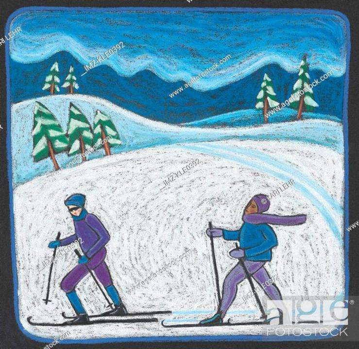 Stock Photo: Two people cross country skiing.