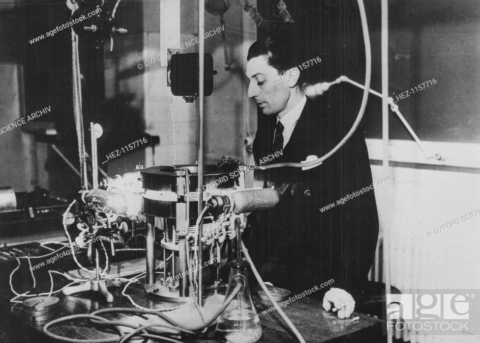 Stock Photo: Frederic Joliot, French physicist, c1930. The apparatus is a Wilson cloud chamber. Joliot (1900-1958) became assistant to Marie Curie in 1925.