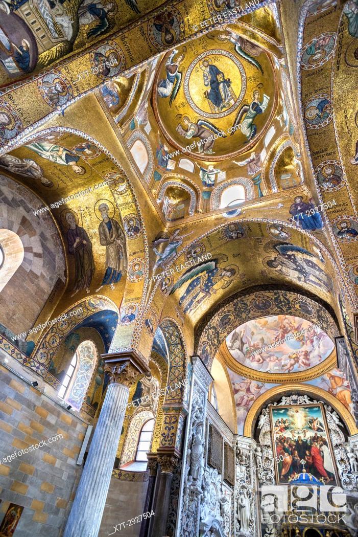 Stock Photo: The 12th century mosaic celing in Santa Maria dell' Ammiraglio, La Martorana, church in the Piazza Bellini, Central Palermo.