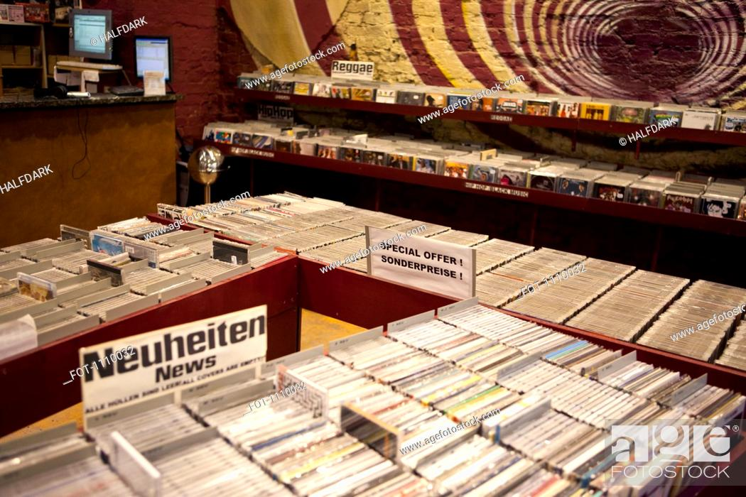 Stock Photo: Bins of compact discs in a German record store.