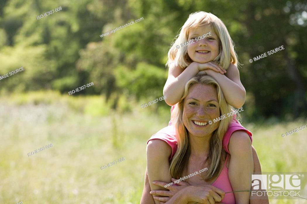Stock Photo: Portrait of a mother and daughter.
