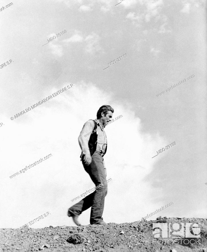 b54ed639d2d James Dean in the film The Giant. American actor James Dean walking ...