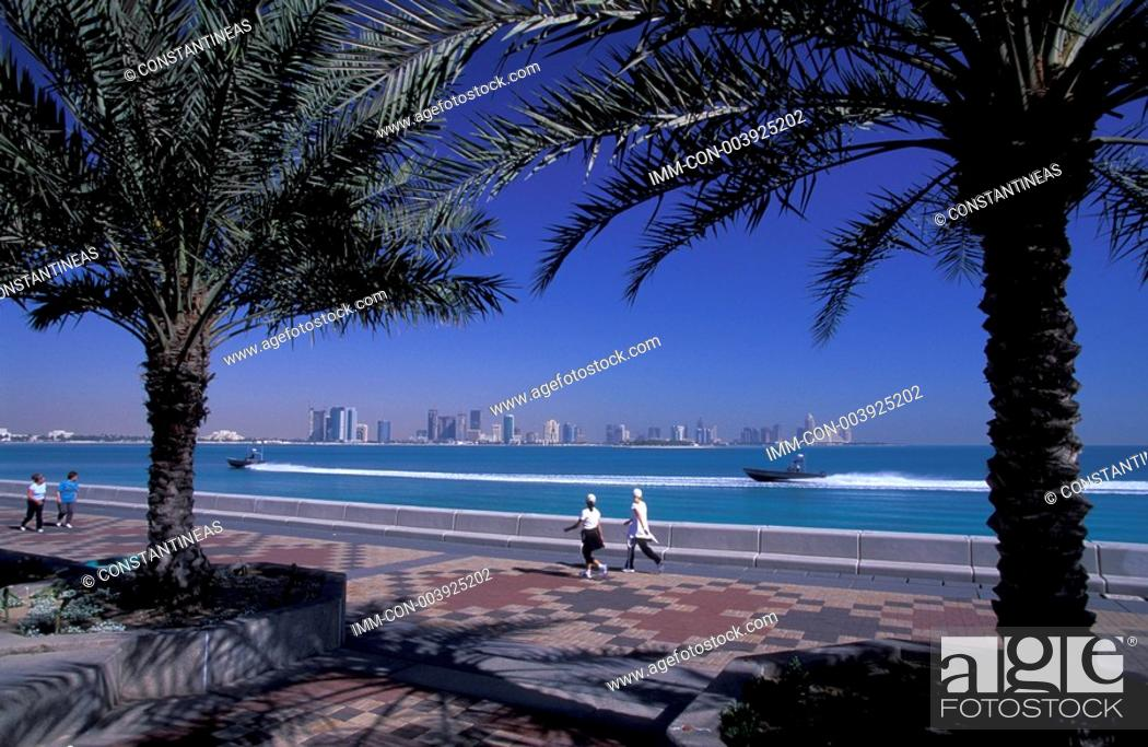 Stock Photo: Corniche, view of Doha Bay, Doha, Qatar, Middle East.