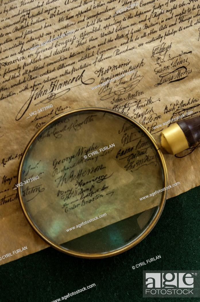 Stock Photo: George Wythe's signature on the Declaration of Independence, Colonial Williamsburg.