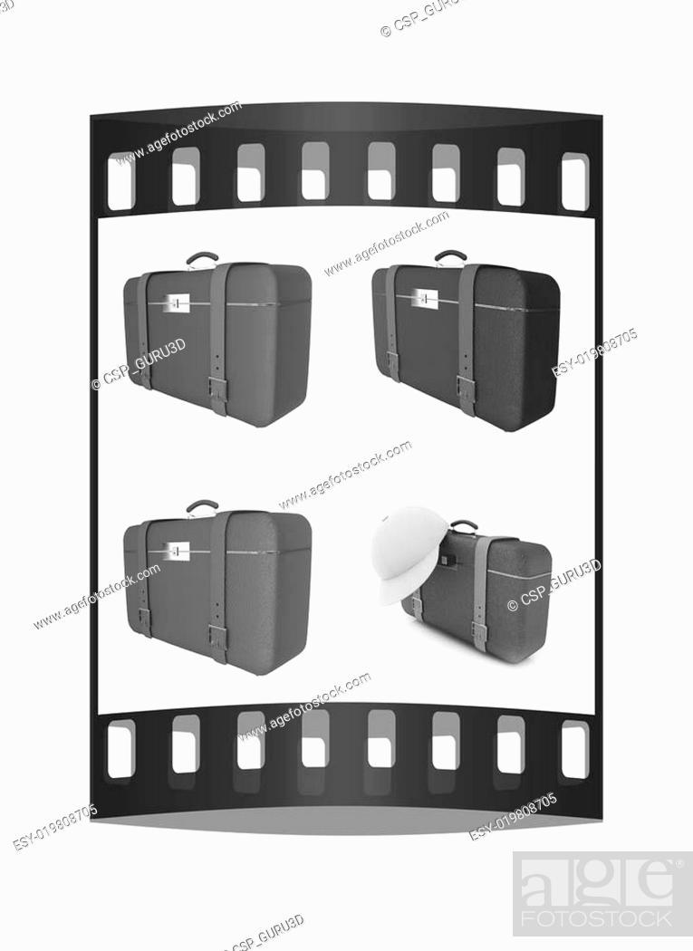 Stock Photo: Traveler's suitcase set. The film strip.