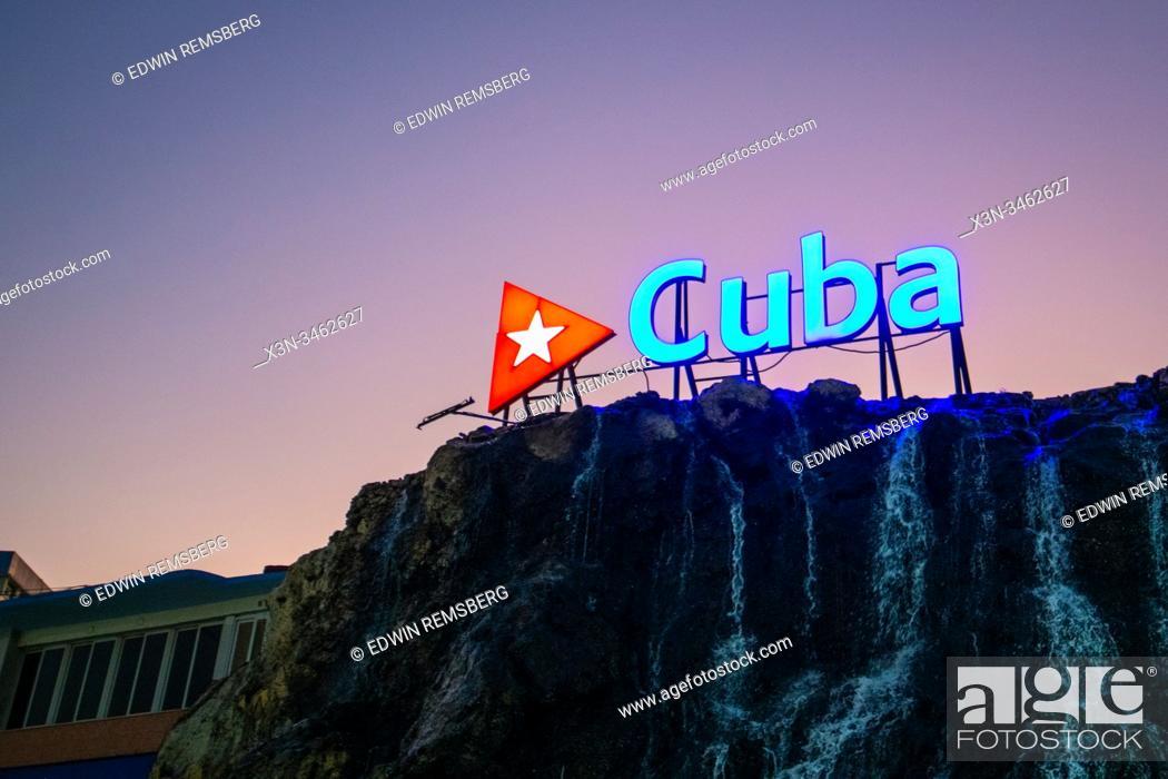 Stock Photo: Brightly lit national sign , Havana, Cuba.