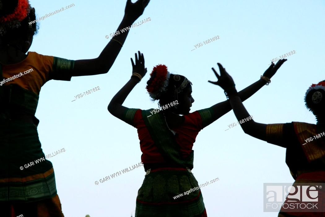 Stock Photo: oriental indian dance group in rome italy.
