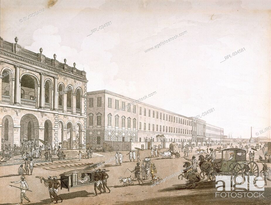 Stock Photo: View of Calcutta The Old Court House and Writer's Building Etching coloured, with aquatint. Originally published/produced in Calcutta, 1786-1788.