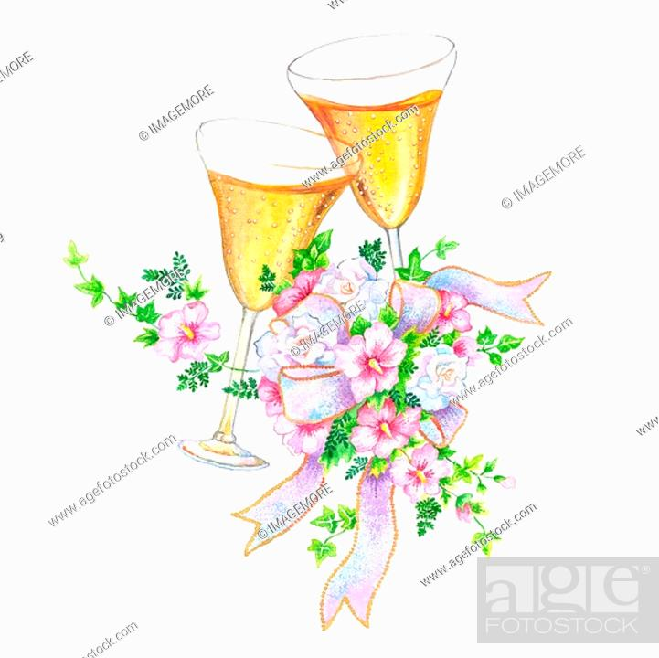 Stock Photo: Flower, Watercolor painting of glass of drink and flowers for wedding.