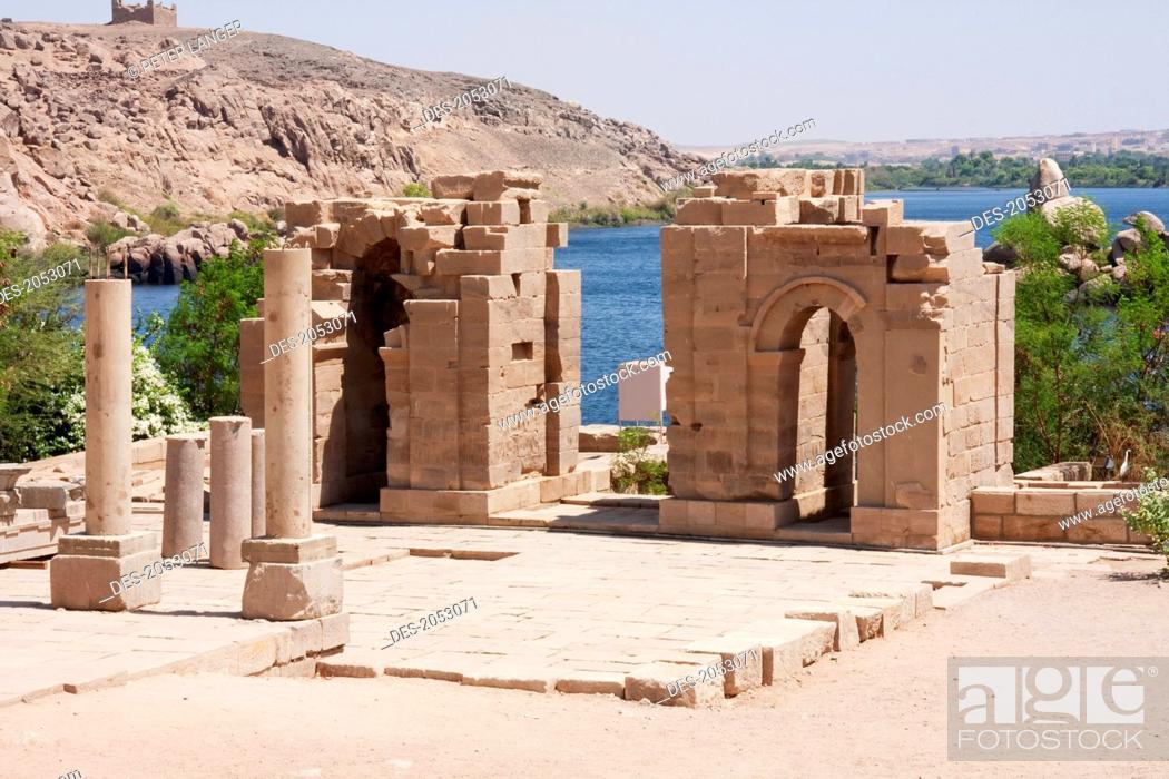 Stock Photo: Temple Of Augustus & The Gate Of Diocletian, Philae, Aswan, Egypt.