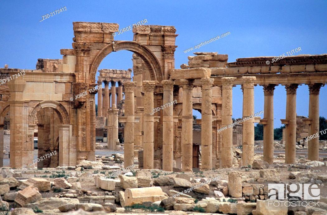 Stock Photo: Monumental arch, Great Colonnade. Palmyra. Syria.