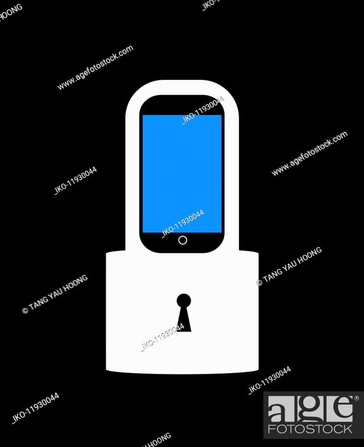 Photo de stock: Smart phone with padlock.