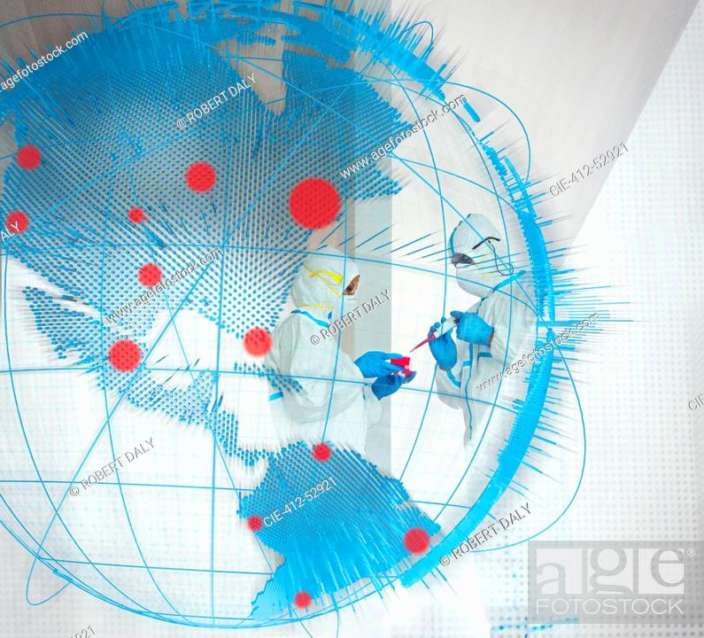 Imagen: Scientists studying coronavirus behind pandemic outbreak globe.