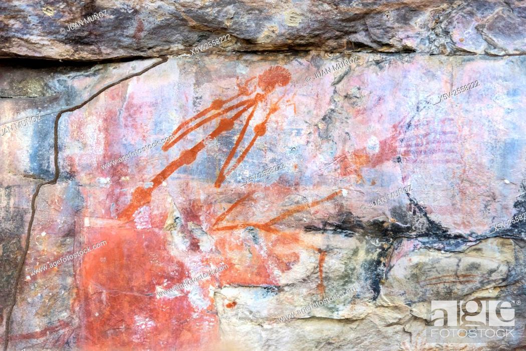 Stock Photo: Paintings. Aboriginal art. Ubirr. Kakadu National Park, Northern Territory. Australia.