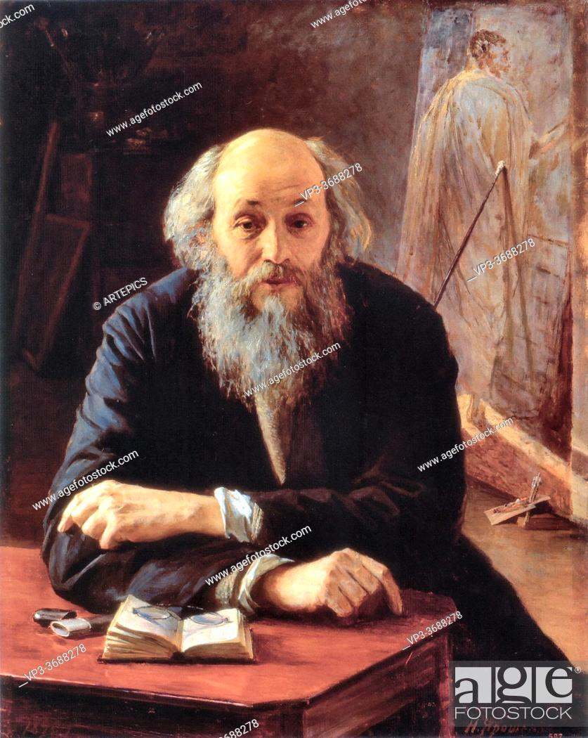 Stock Photo: Yaroshenko Nikolai - Portrait of Nikolai Ghe - Russian School - 19th and Early 20th Century.