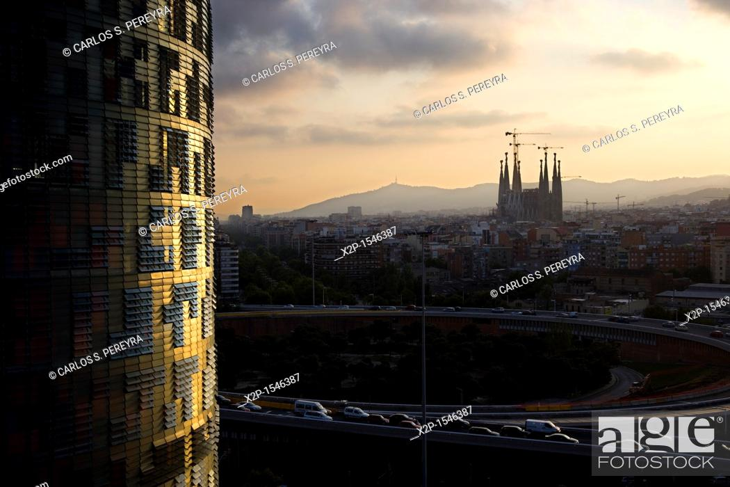 Stock Photo: Panoramic of Barcelona, with the Agbar Tower and Sagrada Familia Church, Barcelona, Spain.