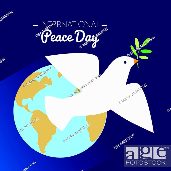 Vector: International peace day dove flying with olive branch and Earth in the background. Vector illustration.