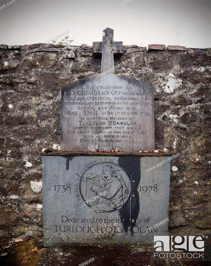 Stock Photo: The grave of Turlough O'Carolan, (1670 - 1738) the blind harpist in Kilronan Burial Ground near Ballyfarnon, County Roscommon, Ireland.