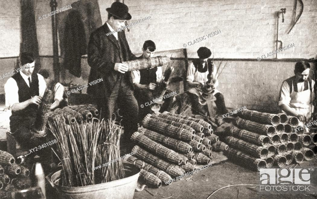Stock Photo: A Nottingham factory during World War One, workers making shell baskets in which projectiles were packed for safe transport.