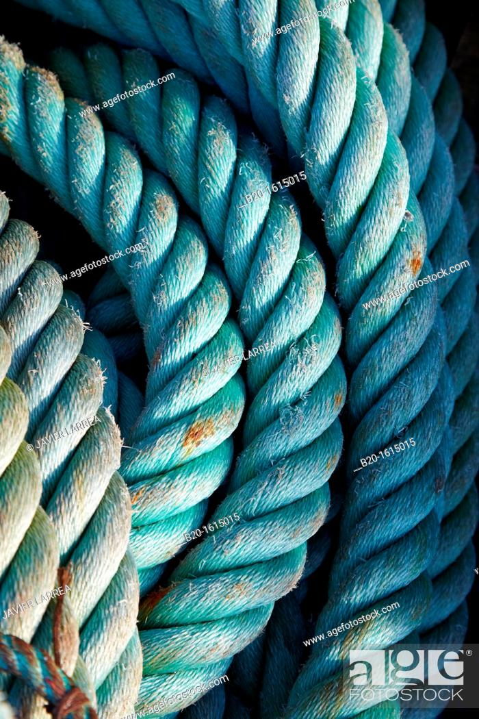 Stock Photo: Ropes, fishing nets, fishing gear maritime, port, Hendaye, Aquitaine, Basque Country, Pyrenées Atlantiques, France.
