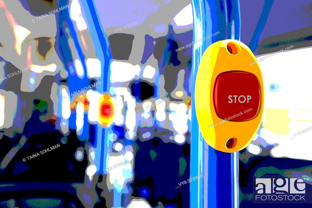 Stock Photo: Stop button on a modern, colorful city bus close up. Filtered image.