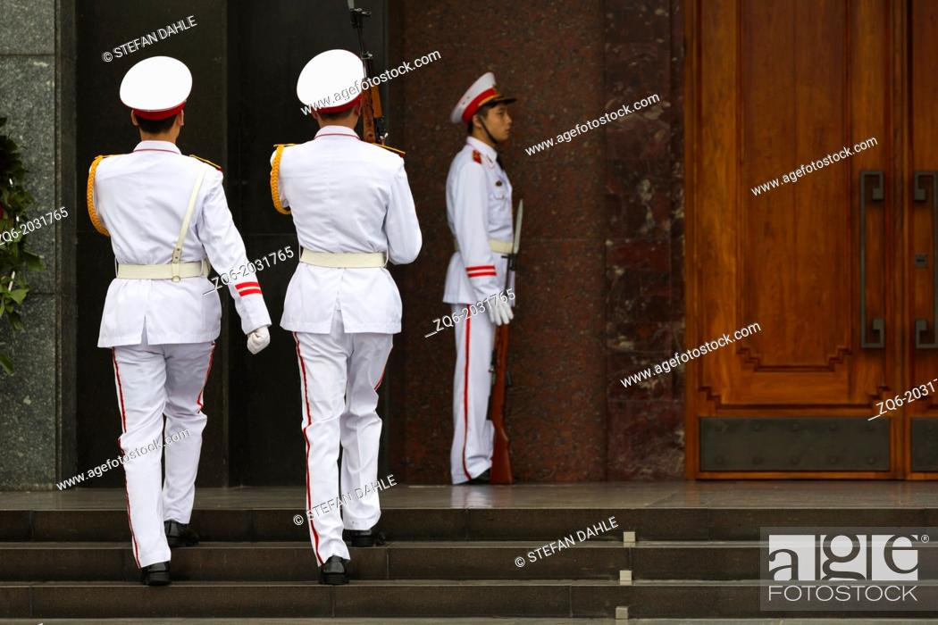 Stock Photo: Change of the Guards at the Ho Chi Minh Mausoleum in Hanoi, Vietnam.