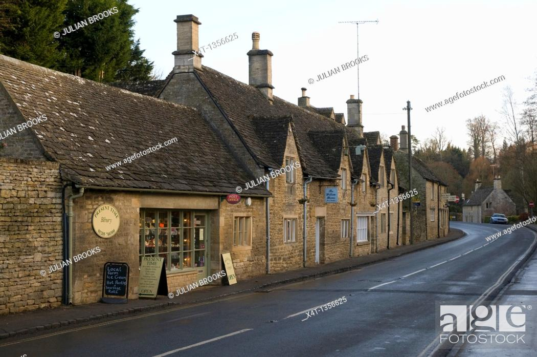 Stock Photo: The main road and post office at Bibury in the cotswolds.
