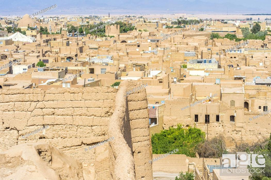 Stock Photo: Narin Qal'eh ramparts and the city, Meybod, Yazd Province, Iran, Asia.