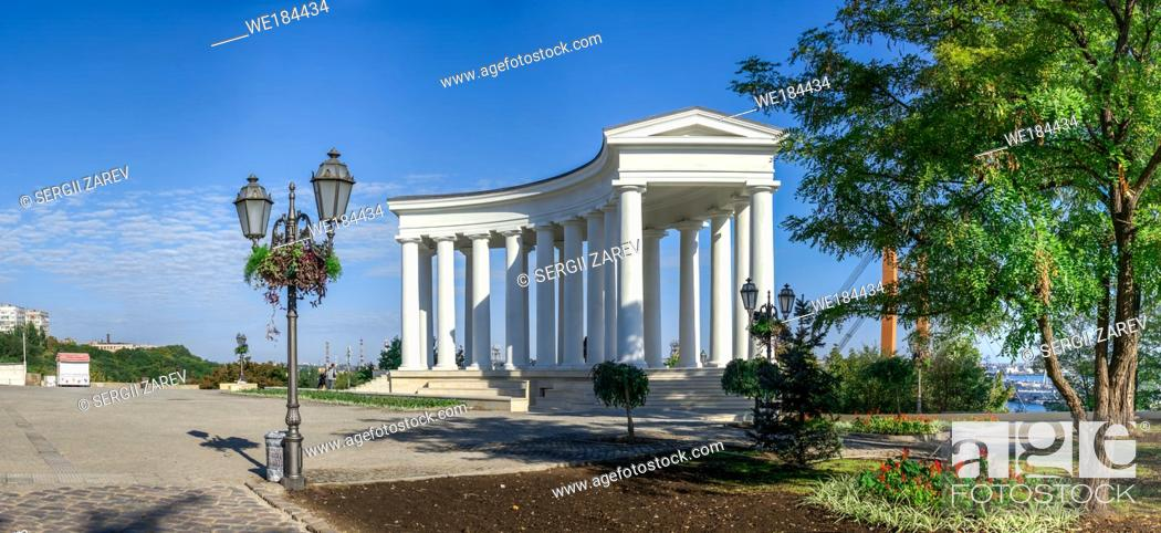 Stock Photo: Odessa, Ukraine - 09. 059. 2019. Restored Colonnade at Vorontsov Palace in Odessa, Ukraine, at the sunny summer morning.