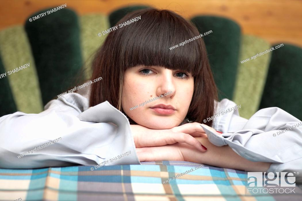 Stock Photo: Bored young woman.