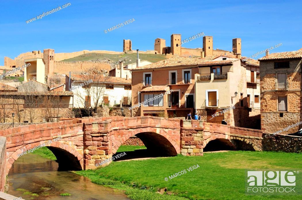Stock Photo: Molina de Aragon. Bridge and Castle. Spain.