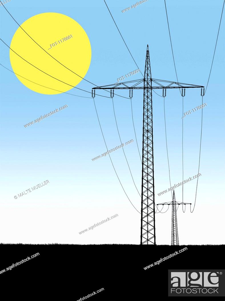 Stock Photo: Electricity pylons with sun in background.