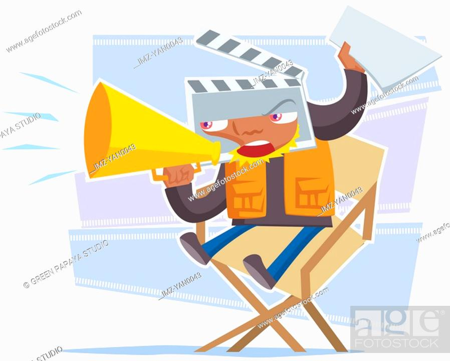 Stock Photo: A movie director giving out instructions.