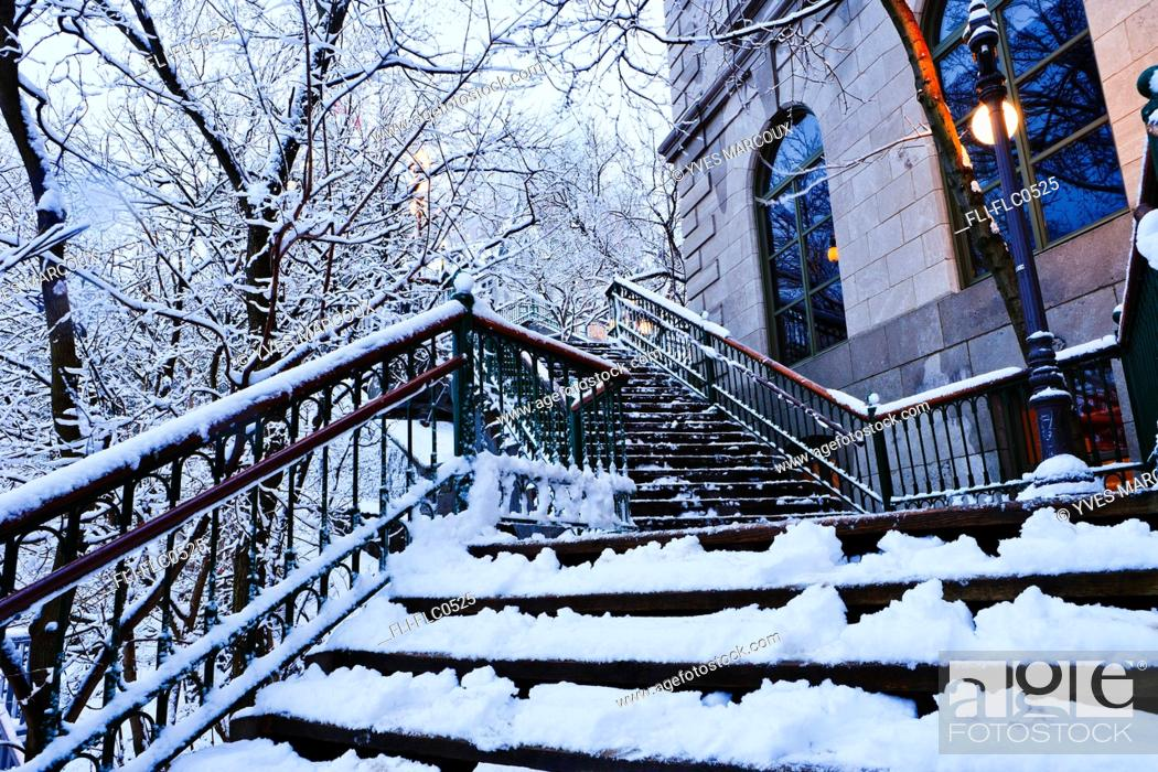 Stock Photo: Chateau Frontenac snow-covered stairway at dawn, Quebec City, Quebec.