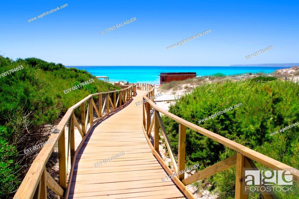 Photo de stock: Formentera migjorn Els Arenals beach walkway of wood in Spain.