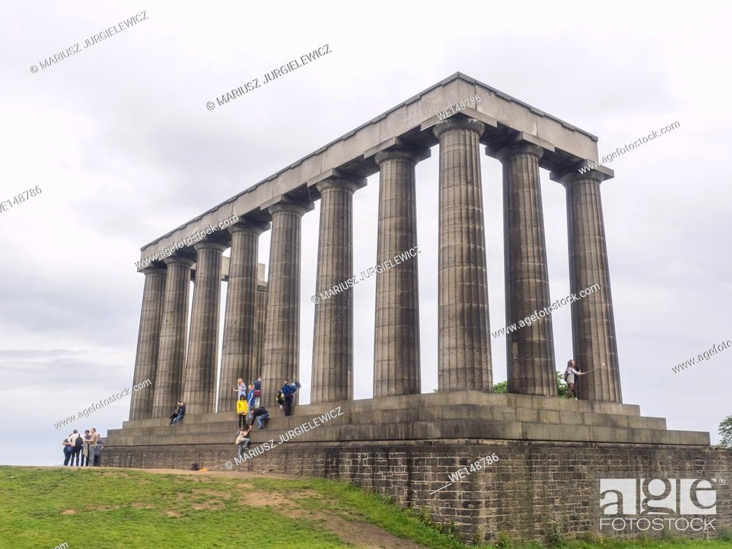 Stock Photo: National Monument of Scotland, on Calton Hill in Edinburgh, is Scotland's national memorial to the Scottish soldiers and sailors who died fighting in the.