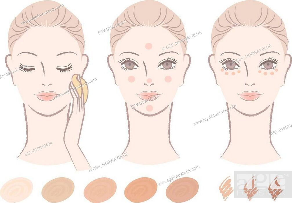 Stock Vector: woman, foundation and concealer.
