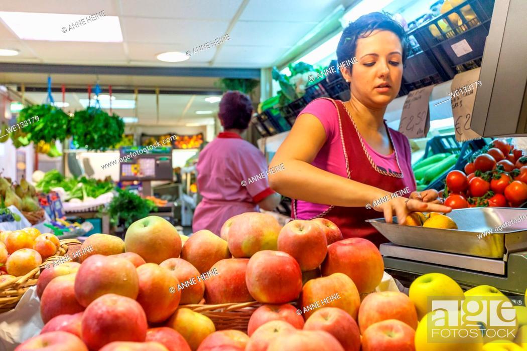 Stock Photo: Women working at fruit stand, Cagliari, Sardeian, Italy.