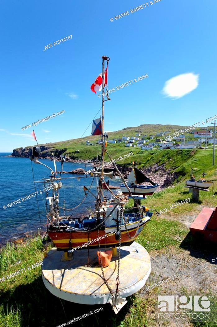 Stock Photo: Marine Folk Art displayed along the coastline of Bay De Verde, Newfoundland and Labrador, Canada.