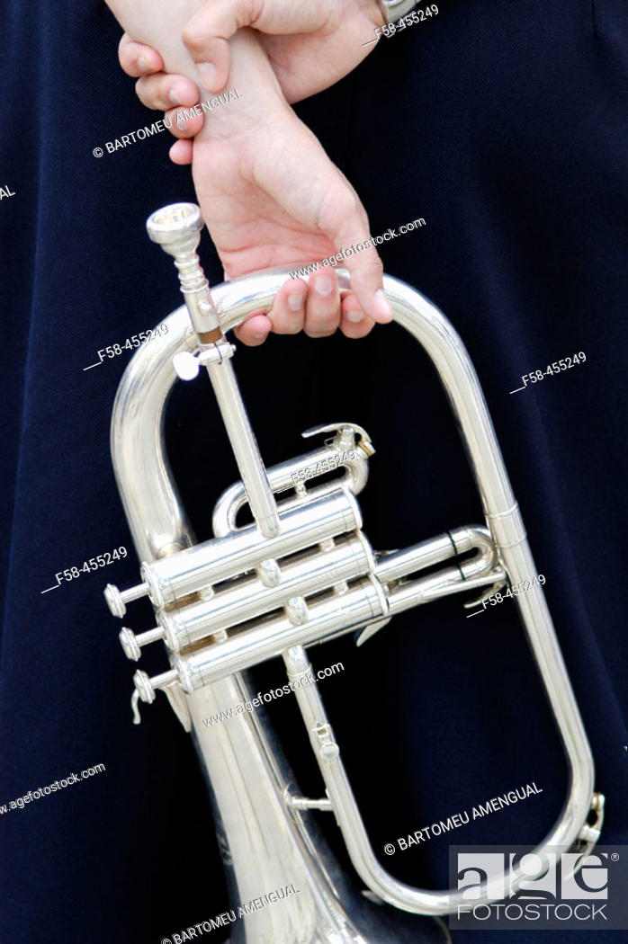 Stock Photo: Trumpet player taking spare time.