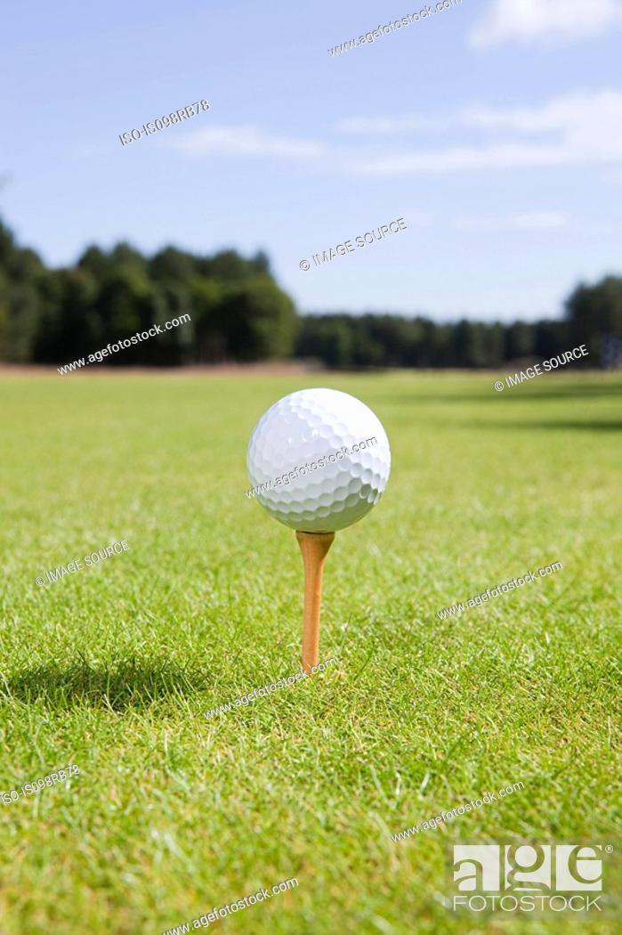 Stock Photo: Golf ball and tee on fairway.