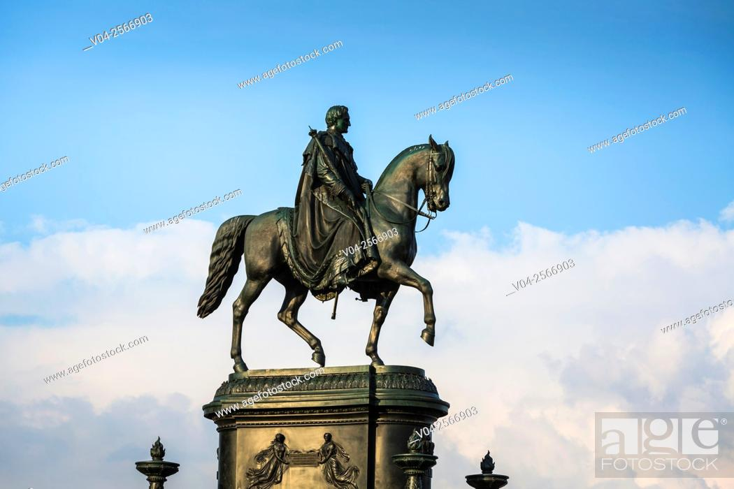 Stock Photo: King John of Saxony Monument in the picturesque city of Dresden, Saxony, Germany, Europe.