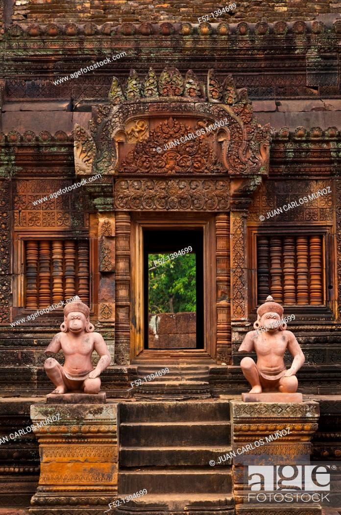 Stock Photo: Banteay Srei Temple  Angkor  Siem Reap town, Siem Reap province  Cambodia, Asia.