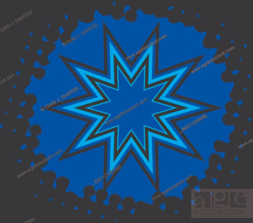 Stock Photo: A 10 pointed star on yellow background.