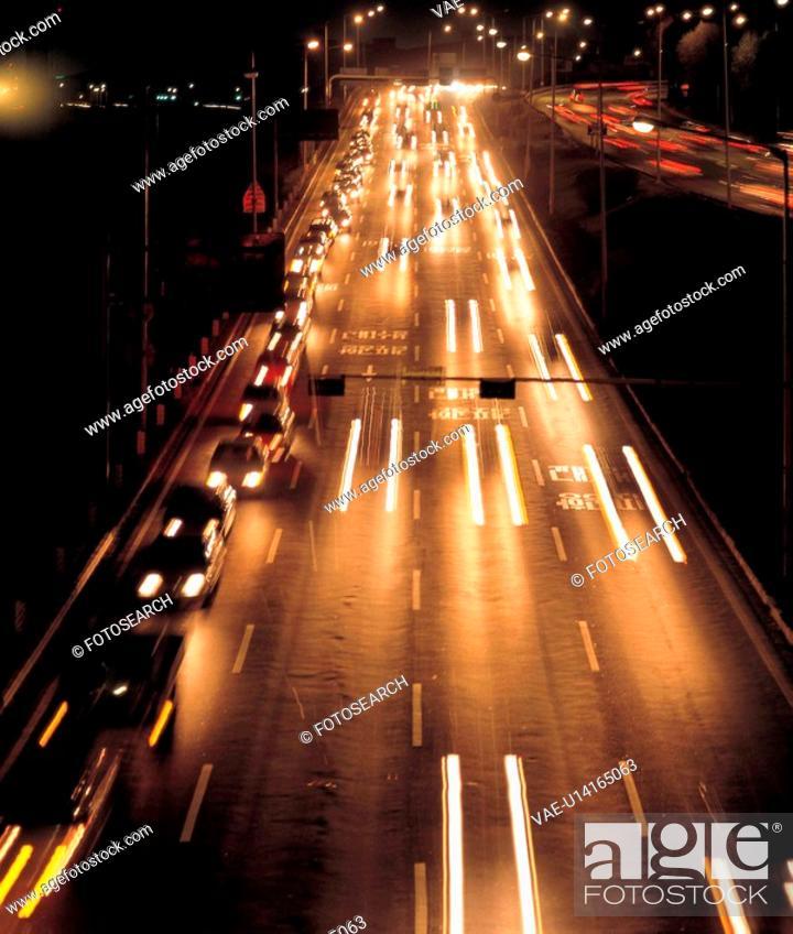 Stock Photo: scenic, night, natural world, road, light, outdoors, cityview.