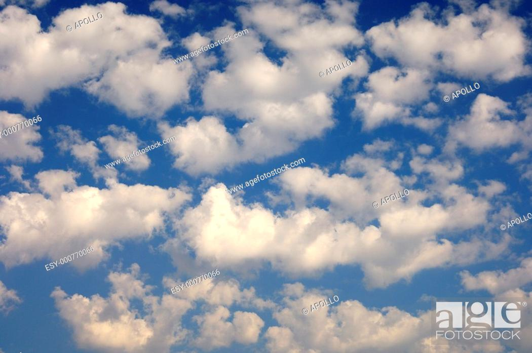 Stock Photo: Sky partially covered with cumulus clouds, Okavango Delta, Botswana.