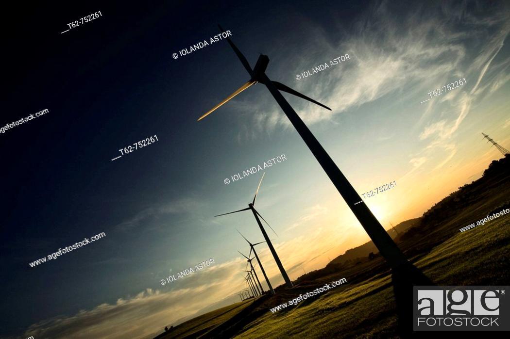 Photo de stock: Windfarm, Urgell Comarca, Lleida province, Catalonia, Spain.