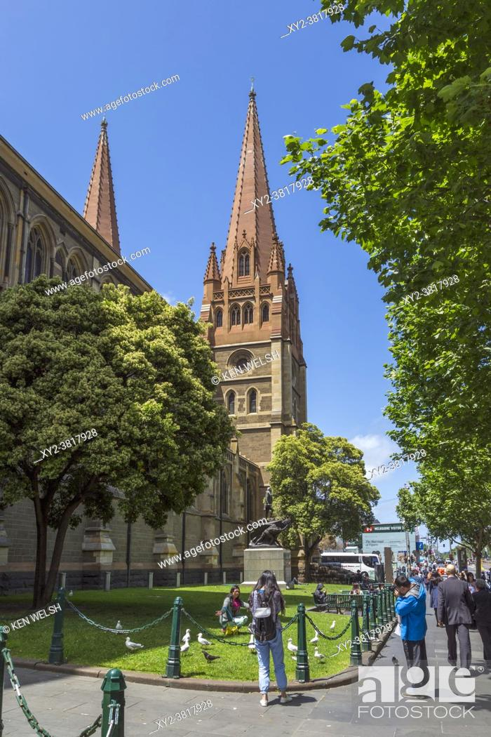 Stock Photo: St. Paulâ. . s cathedral, Melbourne, Victoria, Australia. The Gothic Revival styled Anglican cathedral was designed by English architect William Butterfield and.
